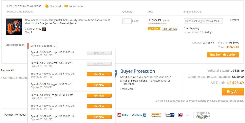 Jak zaplatit s kupony z Aliexpress 1