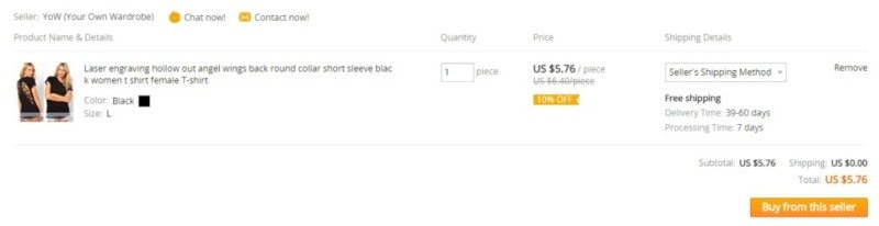 Aliexpress placing order shopping cart