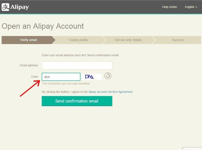 aliexpress-Registration Alipay 3