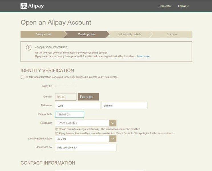 Registration Alipay 7