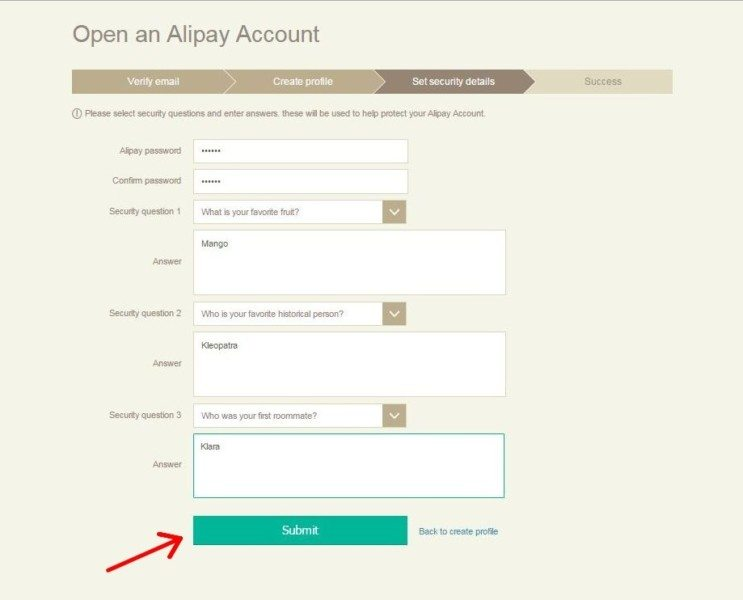 Registration Alipay 9