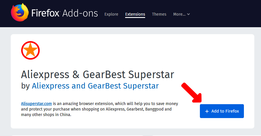 Aliexpress Superstar install addon to Mozilla Firefox1
