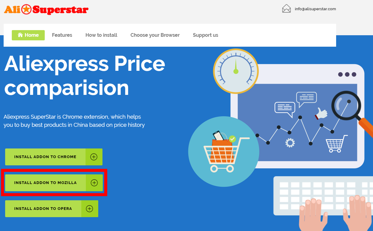 Aliexpress Superstar install addon to Mozilla