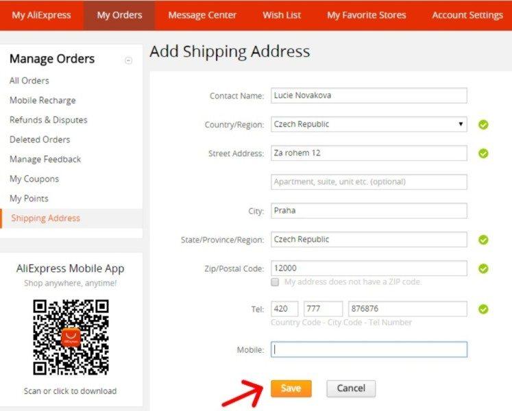 07 - Shipping address on Aliexpress