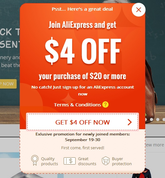 registration coupon Aliexpress