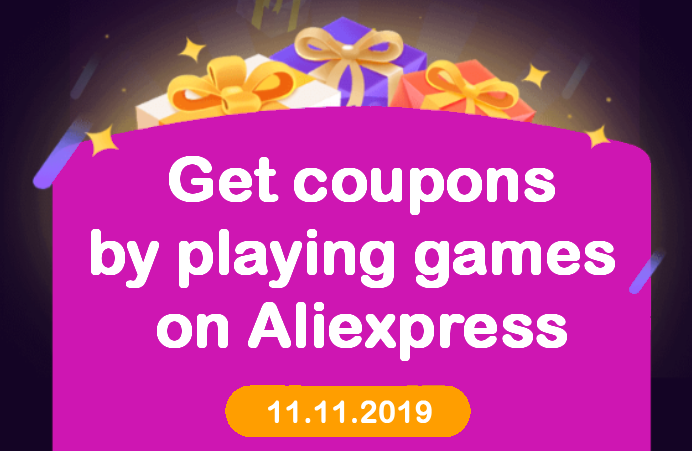 Aliexpress day 11.11.2019 Money hop hry games coupons ENG