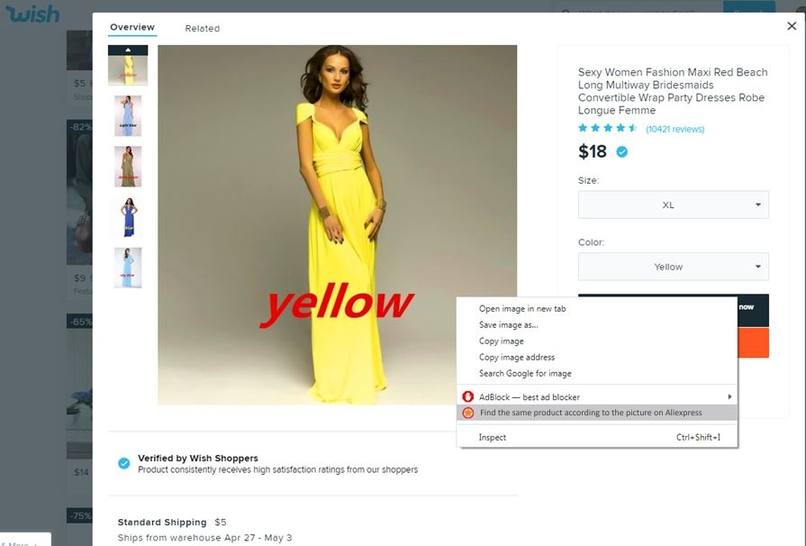 Search by the image Aliexpress Superstar wish dress searching yellow find