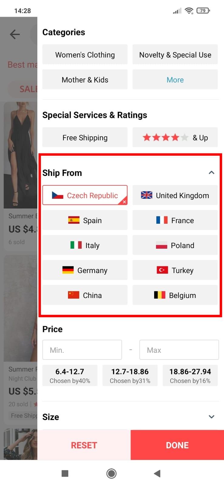 Jak vyhledat Evropsky sklad Aliexpress mobilni aplikace a